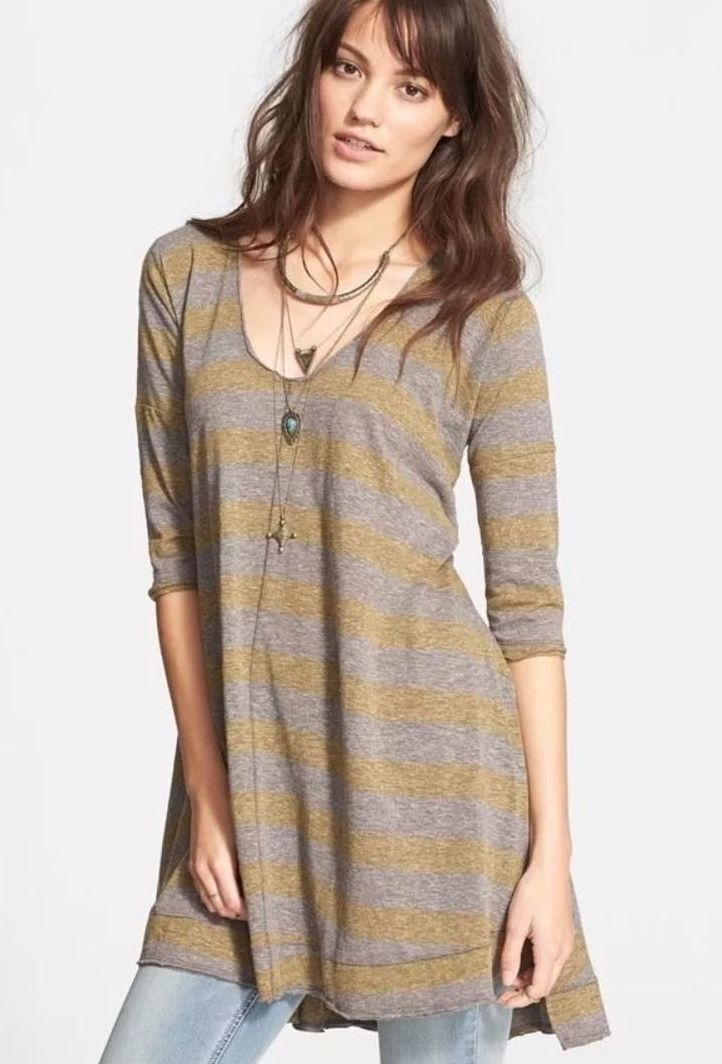 Free People OverGröße High Low Sierra Stripe Tunic Tee Rugby Combo Charcoal S