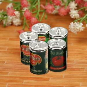 5Pcs/Set Mini Fruit Canned Dollhouse Miniature Food Kitchen Doll Accessories