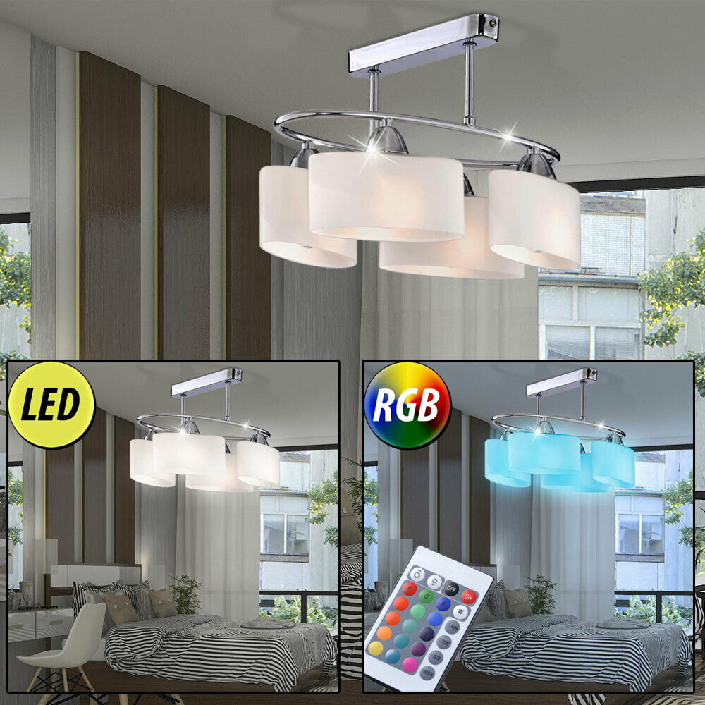 Chrom LED Decken Beleuchtung Wohn Zimmer Leuchte dimmbar Glas RGB Fernbedienung
