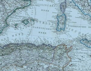 Map Of Spain And North Africa.Details About 1875 Map Mediterranean Sea North Africa Gibraltar Malta Spain Algeria Balearic