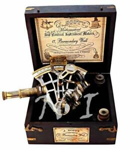 J Scott Antique Brass Ship Sextant With Two Extra Telescope in Hardwood Box