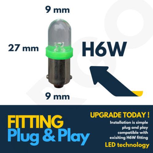 H6w 434 Bax9s 433c T4w Led Hid Parking Side Light Bulbs Xenon Super Green 12v