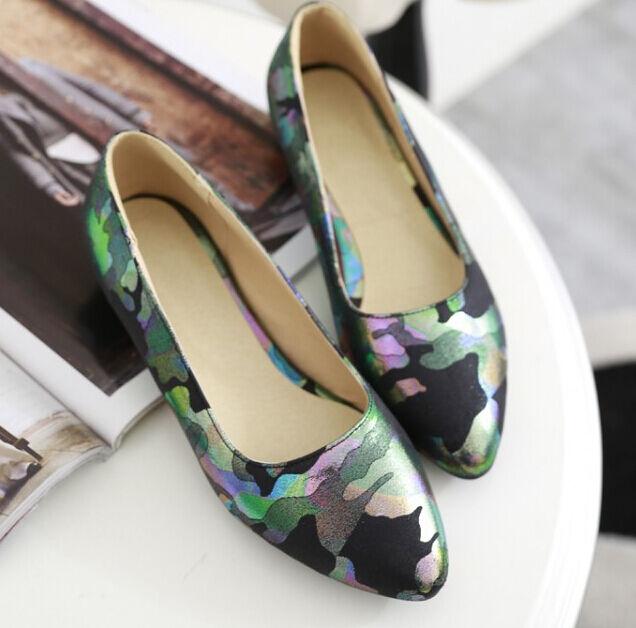 Eleganti comode ballerine scarpe donna militare mimetico lucido tacco 3 cm 8798