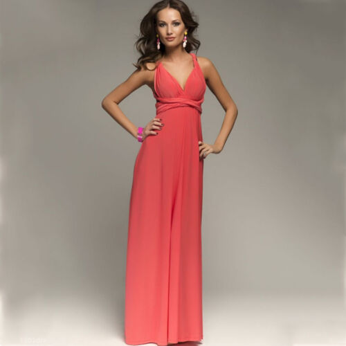Womens Bridemaid Convertible Multi Way Wrap Evening Party Maxi Dress Formal Gown