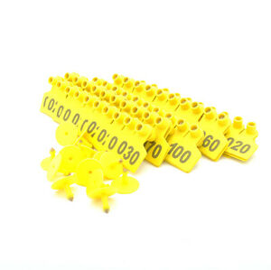 Applicator Puncher Tagger Yellow 100 Ear Tag Pig For Sheep Goat Hog Cattle Cow
