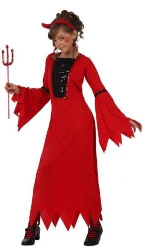 Filles Rouge Paillettes long Diable Halloween Fancy Dress Costume Outfit 3-12 ans