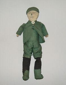 Old-Antique-Vtg-Ca-1910s-Folk-Art-Cloth-Rag-Doll-Man-Pencil-Drawn-Face-Hand-Made
