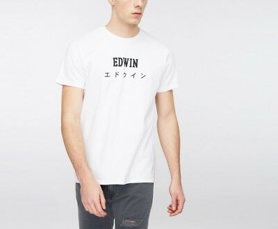 Edwin Jeans Japan Logo T Shirt White Black Emblazoned Tokyo Ship Worldwide