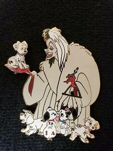 Authentic-Disney-Auctions-Pin-LE-500-Villain-CRUELLA-with-PUPS-101-Dalmatians