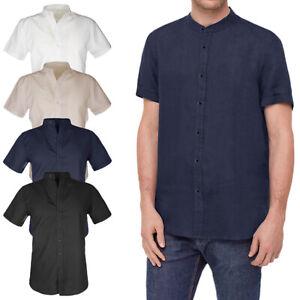 Camicia uomo Lino e Cotone Collo Coreana Mezza Manica Corta Slim Fit VEQUE