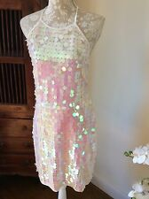 Bnwt Pretty Little Thing White Sequin Backless Dress 14