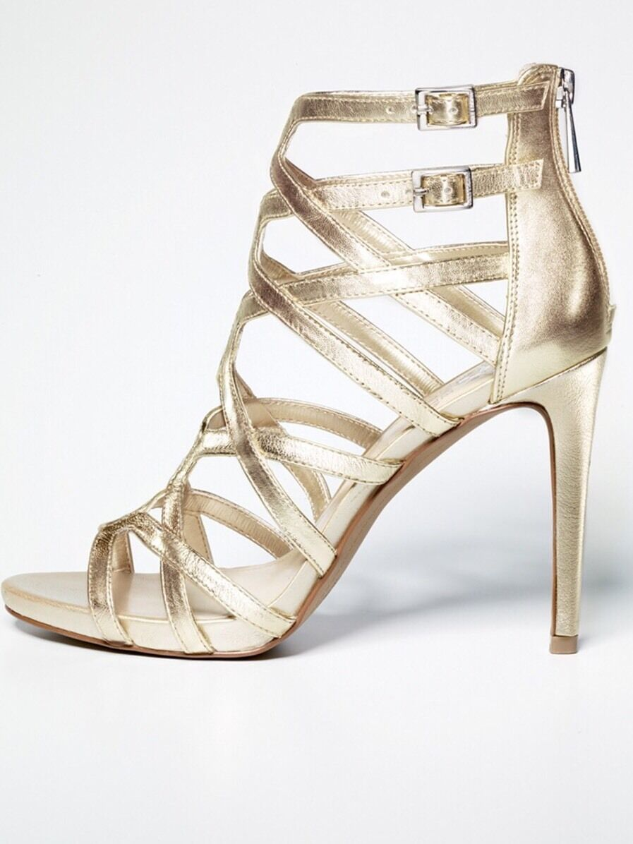 VINCE CAMUTO FANTIN LIGHT GOLD OPEN CAGED STRAPPY HIGH HEEL OPEN GOLD TOE DRESS SANDALS 10 9bd6f5