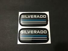 2x New Custom Epoxy Resin Silverado Emblem Pillar Cab Badge Blue