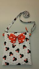 Disney Minnie Mouse white print purse cross body bag with bow, handmade