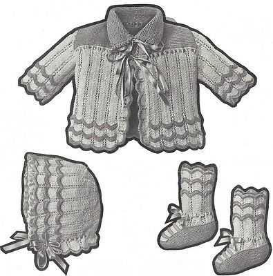 Vintage Knitting PATTERN to make 1921 Infant Baby Set Jacket Bonnet Hat Booties
