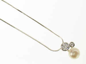 Sterling Silver Freshwater White Pearl & Zirconia Necklace, Bridal, Bridesmaid,