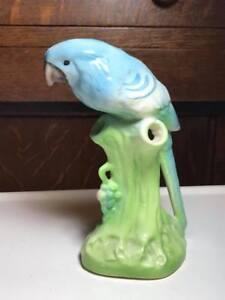Vintage-Ceramic-Bird-Flower-Frog-Made-in-Czechoslovakia