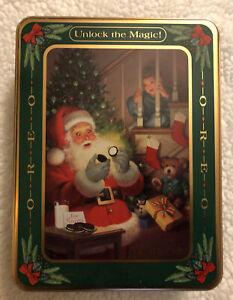 "1992 Vintage OREO Cookie Collectible Christmas Holiday Tin ""Unlock the Magic"""