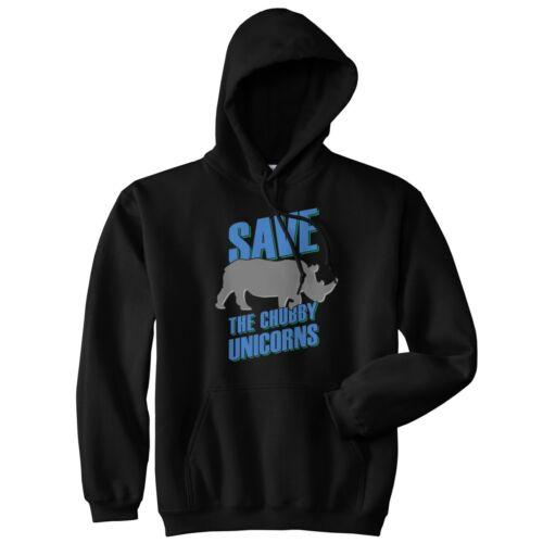 Save The Chubby Unicorns Hoodie Hoody Top Funny Graphic Tee Rhino Unicorn Slogan