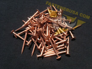"1 1//2/"" Smooth Plain Shank Solid Copper Roofing Nails 10 gauge 50 pcs"
