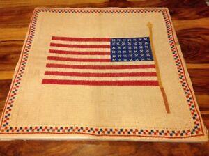 "42-star USA Flag Cross Stitch Vintage Antique Frame 22"""