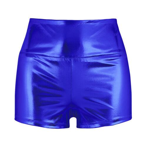 Women/'s Shiny Metallic Booty Shorts Wetlook High Waist Briefs Rave Dance Bottoms