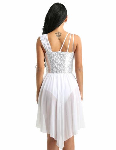 Women Sequined Lyrical Dress Contemporary Ballet Dance Costume Leotard Skirts