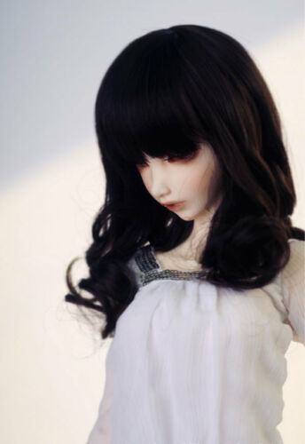 "6-7/"" 1//6 BJD Medium Black Curl Wig LUTS Doll SD DOD MSD DZ Fairyland Soom Hair L"