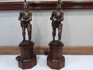 Vintage-Knight-Cast-Metal-Figurine-Figural-Lamp-Pair