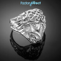 White Gold Jesus Face Diamond Cut Ring