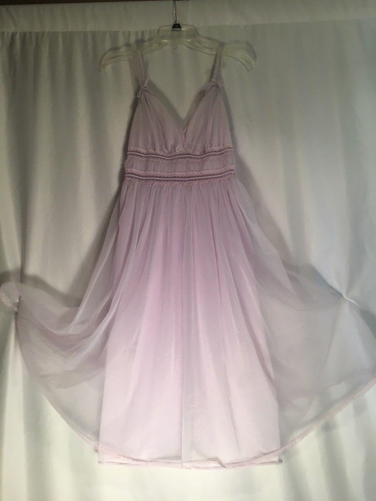 Vintage Babydoll lavender chiffon nightgown nylon flowing Gotham Gold Stripe