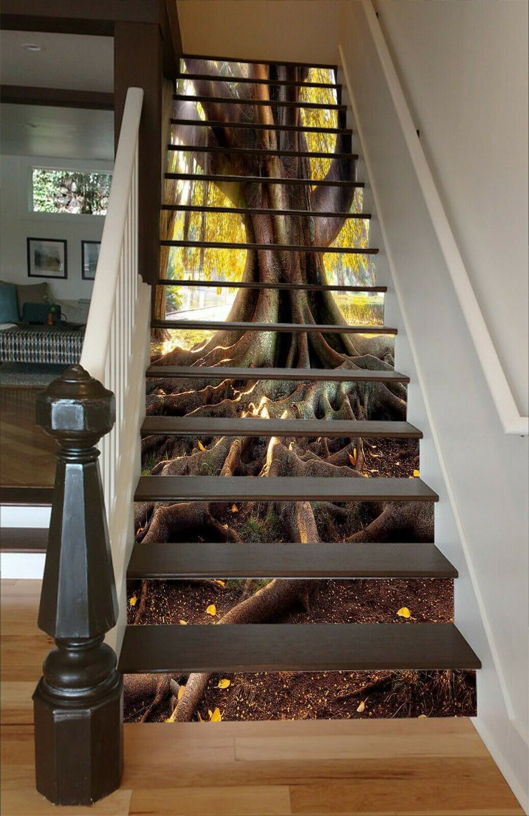 3D Big Tree Roots AZ166 Stair Risers Decoration Mural Vinyl Wallpaper An