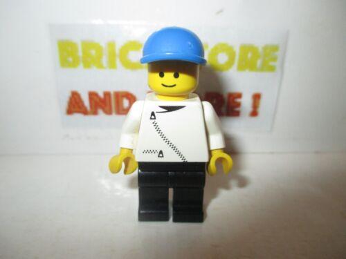 Minifigures Lego zip017 Jacket with Zipper White Black Legs Blue Cap