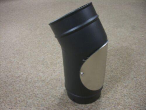 "5/"" Black Stove Flue pipe 30 degree elbow with DOOR"