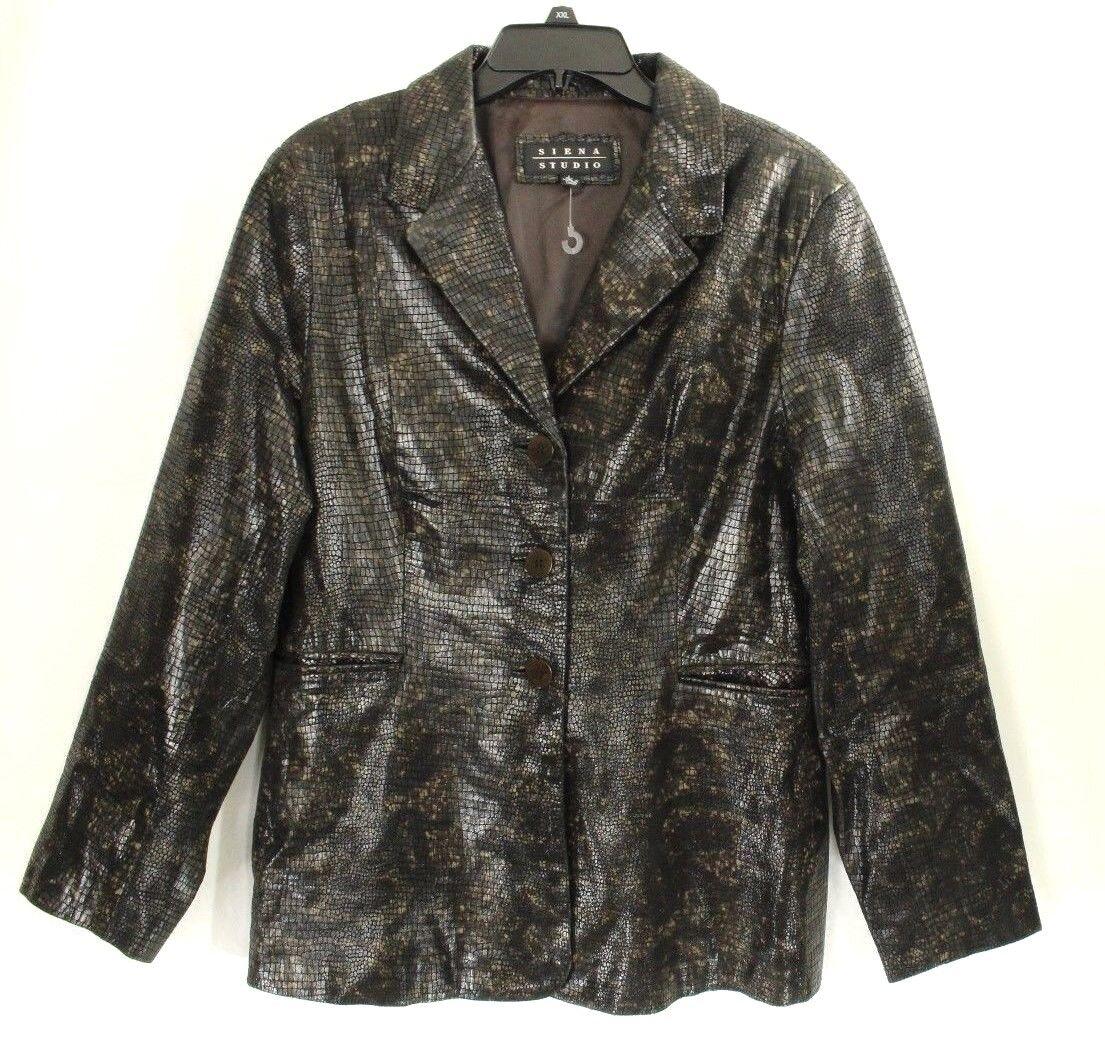 Siena Studio Women's Genuine Leather Python Brown Size L