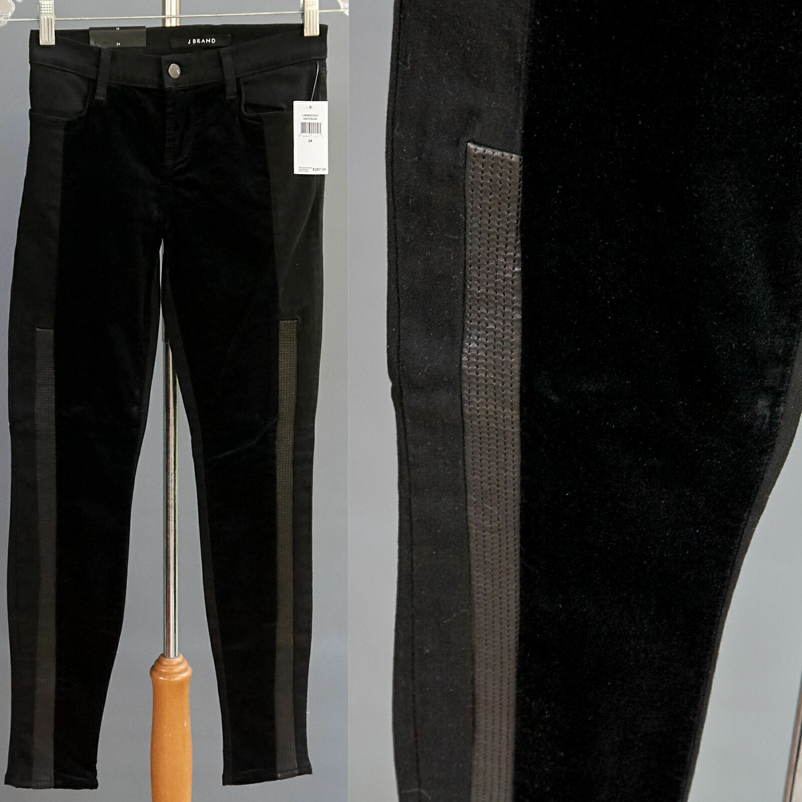 J Brand Leather Panel Pieced Velvet Stretch Leggings Hewson Pants NWT 297 sz 24