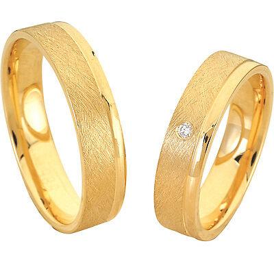 SONDERPREIS!  Trauringe Verlobungsringe mit Stein Gold Plated GRAVUR Gratis P045