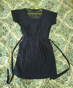 Details About Forever 21 Silk Navy Blue Lace Back Dress Size Small