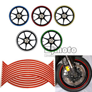 3 8 9mm Motorcycle Reflective 18 Wheel Sticker Rim Red For Honda
