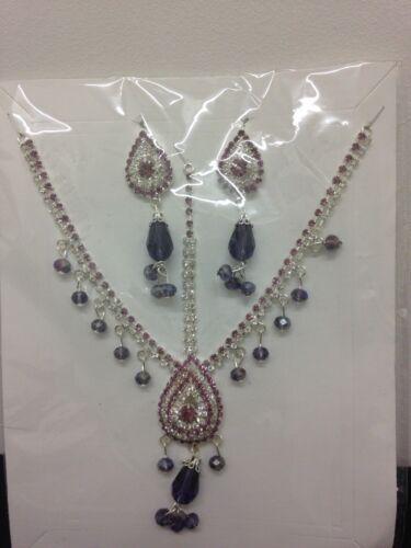 Diamante Head Piece Hair Chain Matha Patti Earrings Set Costume Jewellery
