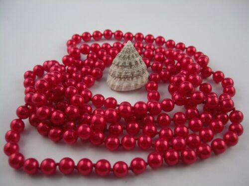Extra Lange Perlenkette Art Deco Stil geknotet 168-170 cm Knall Rot