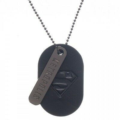 DC COMICS SUPERMAN SYMBOL PU DOG TAG WITH METAL 'METROPOLIS' PENDANT (NEW)