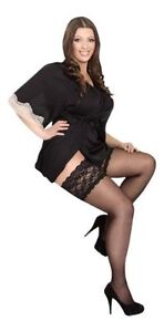 STOCKINGS-STAY-UP-plus-size-GERMANY-SHEER-W-4-034-LACETOP-BEIGE-SILICONE-SM-10-X