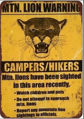 MOUNTAIN LION WARNING SIGN CAMPING HIKING CROSSING METAL TIN SIGN POSTER