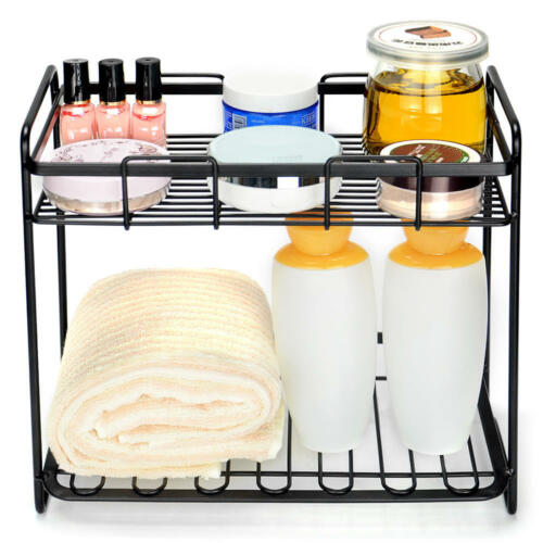 2-Tier Rack Bathroom Organizer Spice Rack Stand Spice Jars Shelf Kitchen Holder