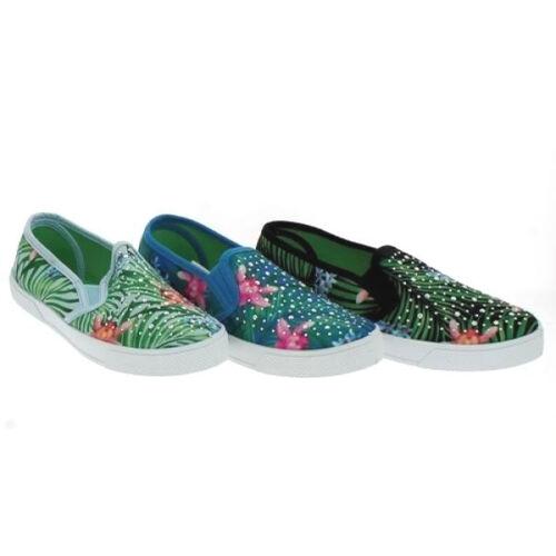 Damen Leinenschuhe Slipper mit Blumen Strasssteinen Gr 36-41