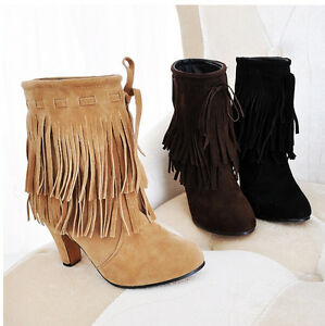 New-Womens-Faux-Suede-ROund-Toe-Block-Heel-Shoe-Ladies-Tassel-Fringe-Ankle-Boots