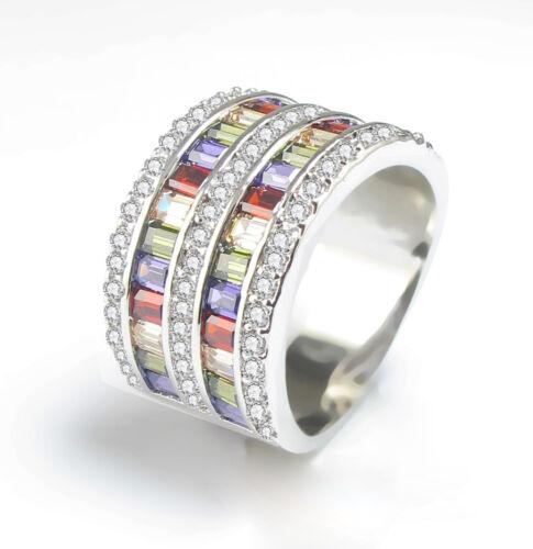 Multi-Color Topaz Birthstone 14KT Gold Filled Wedding Bridal Ring Gift Size 6-10