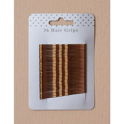 Card of 36 Metallic Brown 55mm Hair Kirby Clips Bobby Grips Pins Ladies or Girls