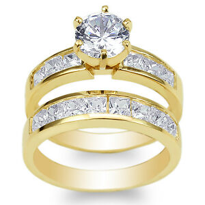 Ladies-Set-Yellow-Gold-Plated-1-1ct-Round-CZ-Wedding-Channel-Ring-Size-4-10